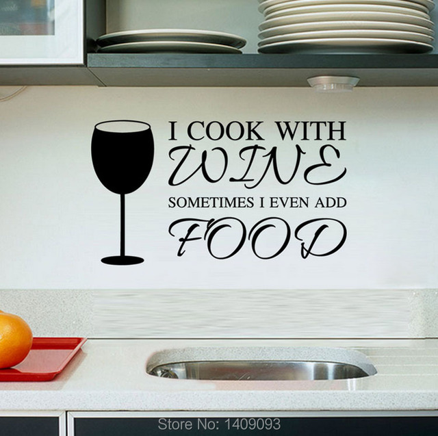 Kitchen Wall Stickers Cook With Wine Vinyl Wall Quotes DIY Kitchen  Decoration Removable Waterproof Wall Decals