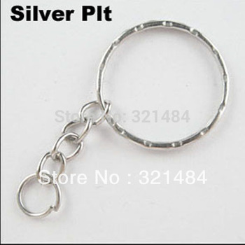 25mm ring with chain Bright Silver Plated 100pcs keychain accessories DIY jewelry findings