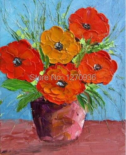 ᗔartistes Qualifies A La Main Moderne Belle Pot Fleurs Peinture A L
