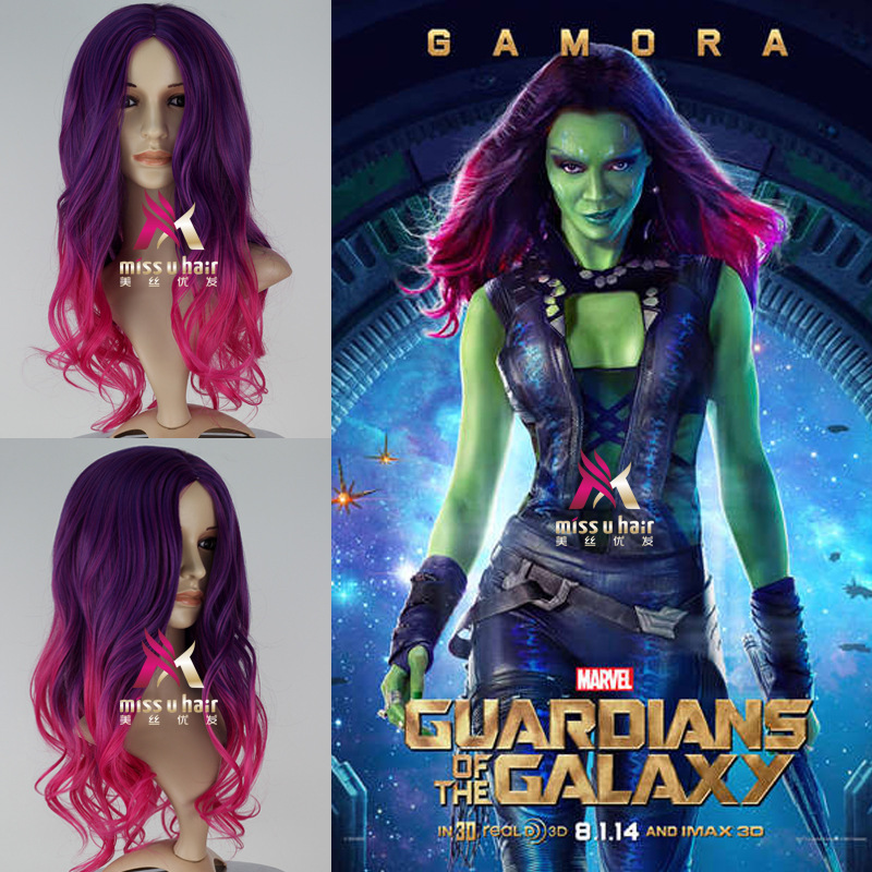 High quality Movie Guardians of the Galaxy Gamora wig Play Hair Avengers Comic Cosplay Accessories Marvel Halloween Costume