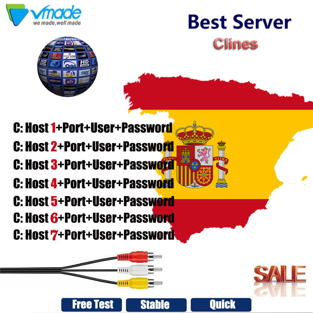 Vmade 1 year Europa CCCams HD Cable 7 clines for DVB satelite receiver DVB S2 v7 v8 support Spain Portugal Germany Poland Italy