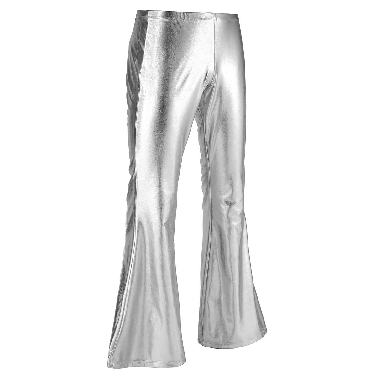 Image 3 - TiaoBug Adult Shiny Metallic Men Retro Disco Pants Long Flare Trouser Club Party Festival Rave Stage Ballroom Jazz Dance CostumeFlare Pants   -