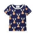 2017 Hot Brand Niños Camiseta Linda Deer Embroma la Camiseta diseñador Del Niño de Los Bebés Camisetas de Algodón de Manga Corta Camiseta camisa