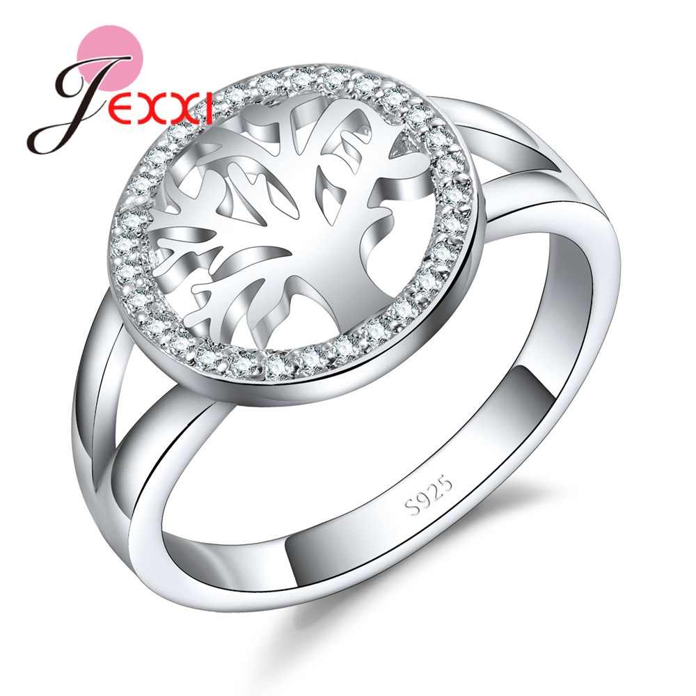 Women 925 Sterling Silver Round Tree Shape Crystal Wedding Engagement Rings Jewelry Fashion Cubic Zircon Ring