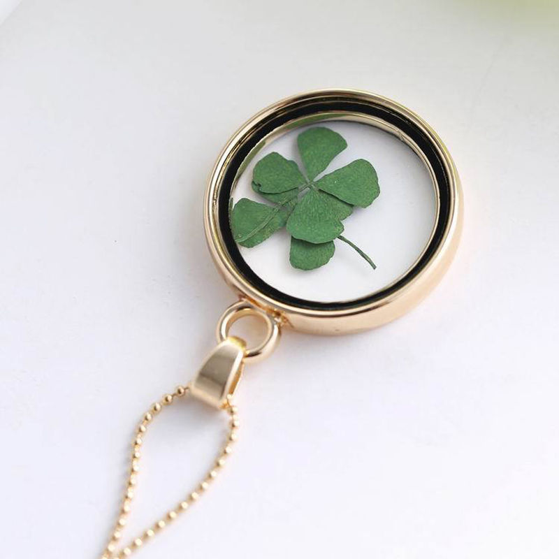 Four Leaf Clover Shamrock Real Flower Necklace Circle Jewelry Lucky Pendant In Necklaces From Accessories On Aliexpress