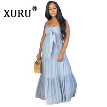 XURU 2019 Autumn New Womens Hot Sale Dress Wrapped Bohemian Long Casual Sling