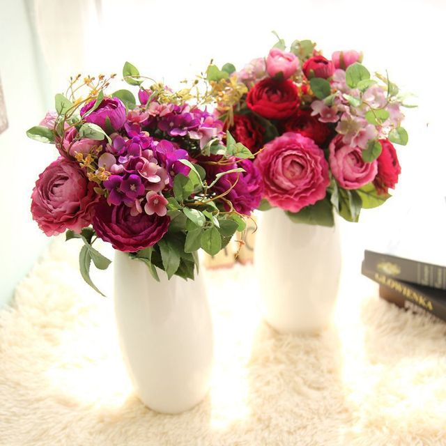 Wholesale Artificial Mixed Tea Rose Hydrangea Flower Bouquet Home ...