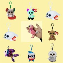 TY Beanie Boos Big Eyes Mouse Seal Bear Fish Owl Fox Plush Keychain Toy Doll TY Baby Kids Gift(China)