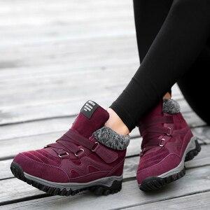 Image 3 - TUINANLE 2020 zimowe buty ciepłe buty na śnieg wodoodporne buty z zamszu kobiece kostki buty na platformie Plus rozmiar buty wojskowe kobiet
