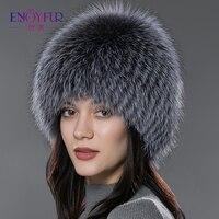 ENJOY FUR women winter fur hat genuine fox fur hats knitted silver fox fur caps female russian bomer caps