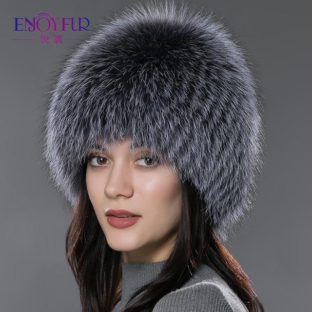 ENJOYFUR Шапка женская меховая зимняя из натурального меха лисы и серебристо-черной лисы для женщины