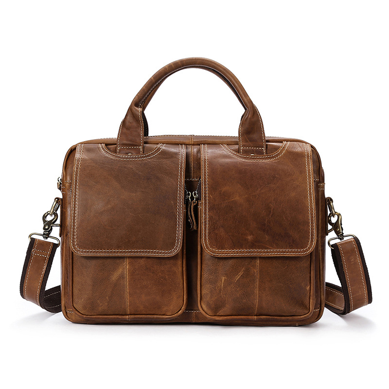 2018 New Men's Briefcas Genuine Leather Men Handbag Cowhide Retro Business Men's Crossbody Bags Shoulder Men's Messenger Bags