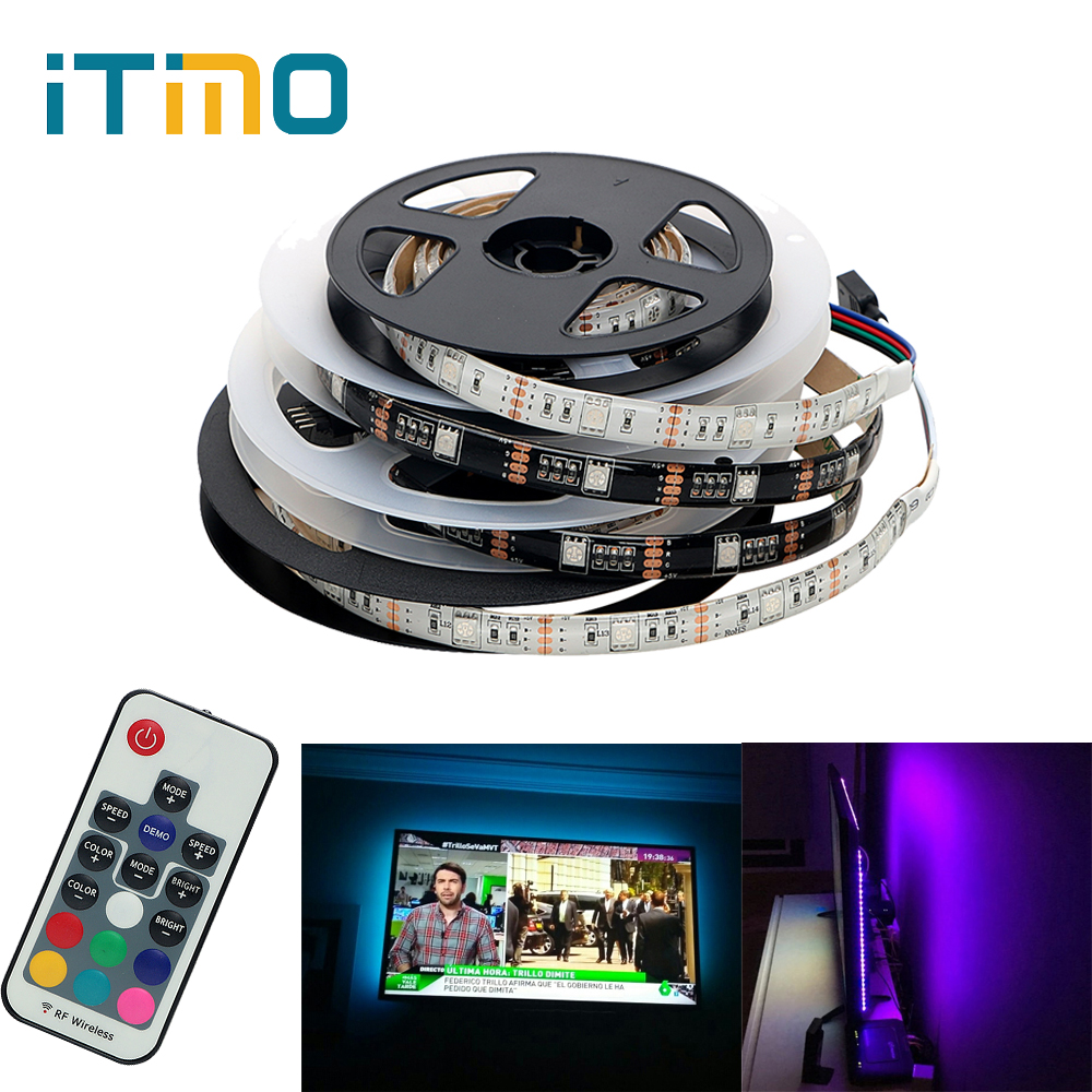 iTimo 5V 1M 2M RGB LED Strip 17Key RF Remote Controller Waterproof USB LED Lighting DIY Home Decoration TV Background Light Lamp
