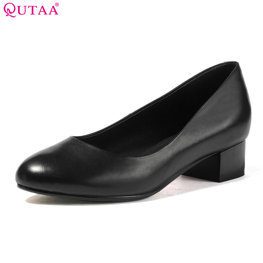 QUTAA 2017 Women Pumps Square Low/Med/High Heel Platform Genuine Leather Black Ladies Wedding Shoes 3.3/5/6.7 cm Size 34-42 alfani new black women s size small s mesh back high low ribbed blouse $59 259