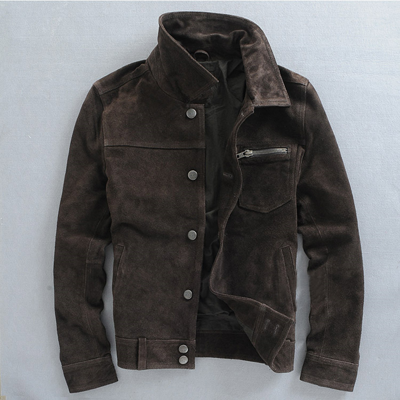 HARLEY DAMSON Brown Men Smart Casual Genuine Cow Sued Leather Jacket Slim Fit Short Russian Winter Thick Leather Coat