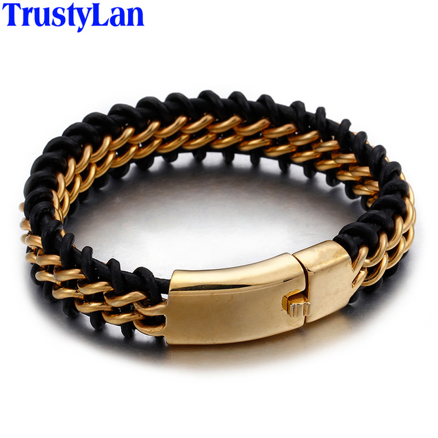 Trustylan Gold Color Stainless Steel Leather Bracelet Men 18mm Wide Mens Bracelets Jewelry Wristband Dropshipping