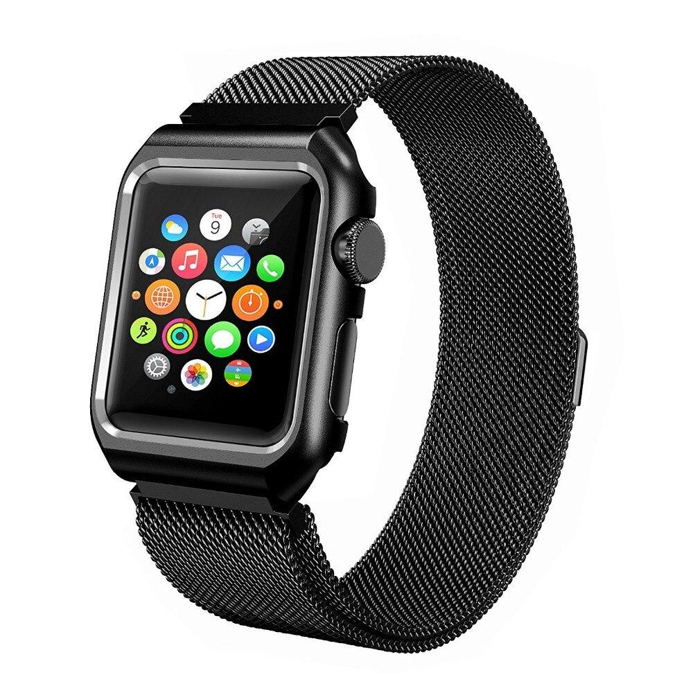 Milanese Loop With Metal Bumper Case für Apple Watch Band Serie 3 2 - Uhrenzubehör - Foto 2