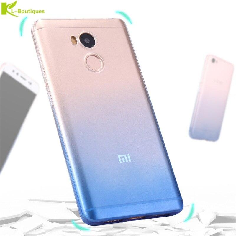KL-Boutiques Gradient Case For Xiaomi 4 4S 4i 4C 5S 5S Plus 6 Redmi 4A Note 2 3 4X Pro 3S Slim Phone Case Transparent Soft Cover