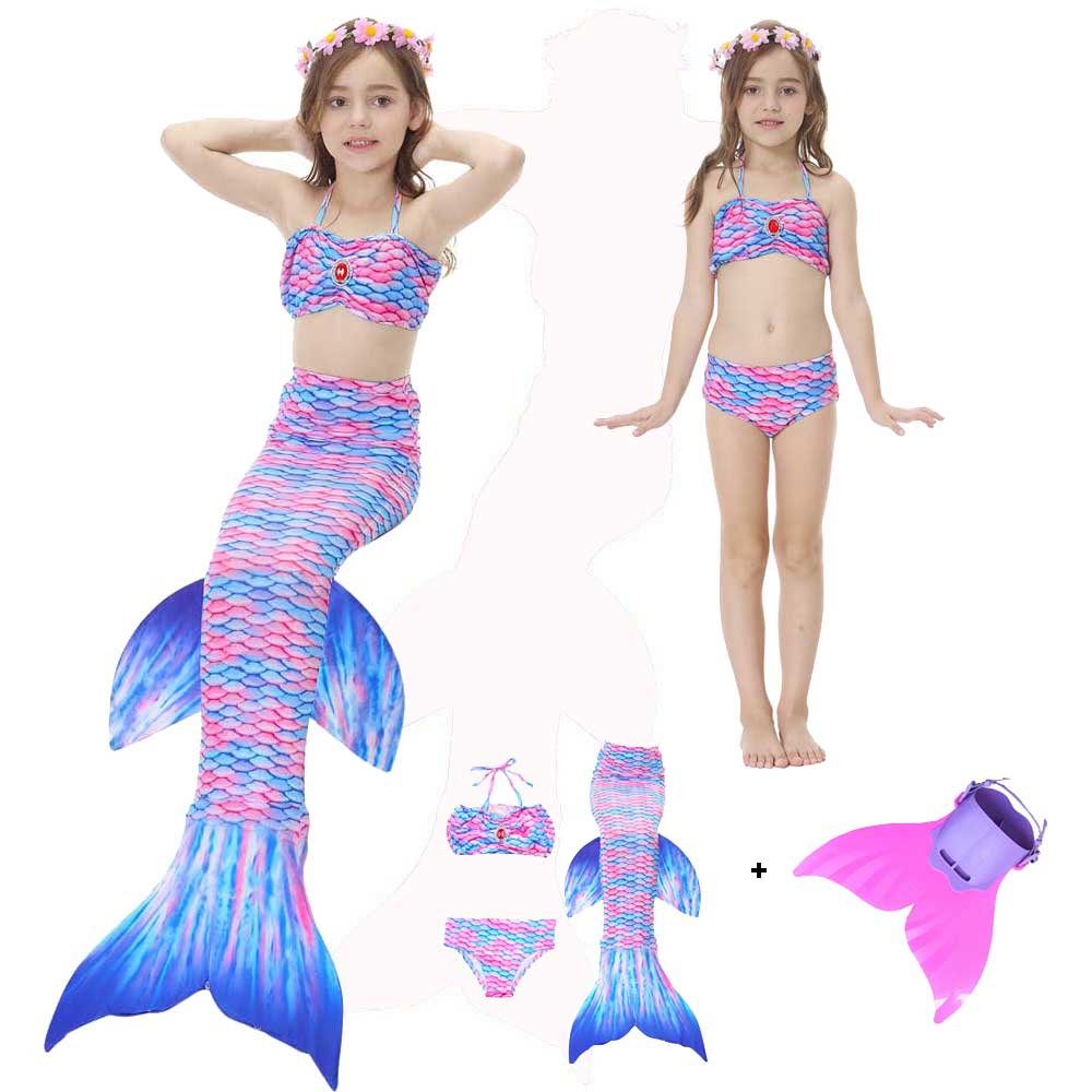 Girls Bikini Suit Mermaid Tail For Girls Swimming Swimwear Kids Children's Mermaid Tails Costume Sharkle Tail Swimsuit Cosplay