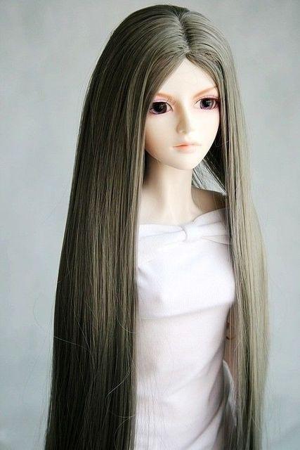[wamami] 77# Grey Straight Hair/Wig for 1/4 MSD DOD AOD LUTS BJD Dollfie