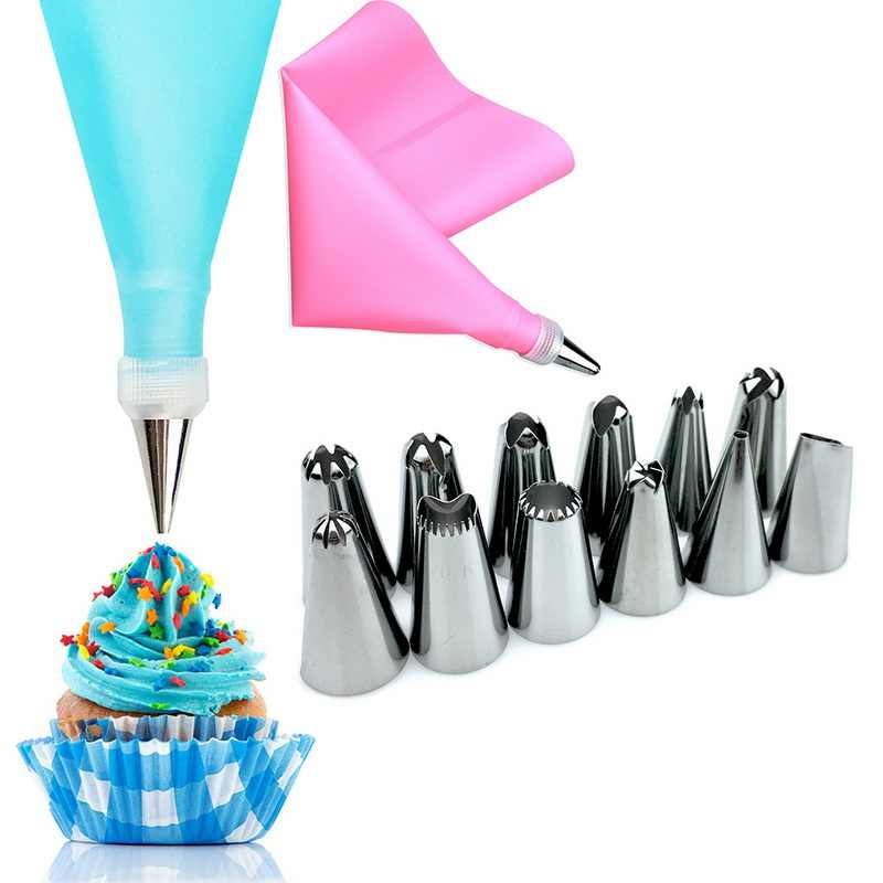 Urijk 1Set Silicone DIY Icing Piping Cream Pastry Bags Nozzle Tips Set Cream Coupler Cake Decorating Tools Baking Tools