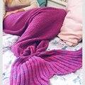 2016 New Design Sólido Bebês Cobertor Sereia Cauda Acrílico Adulto Saco de Dormir Cobertor 3 Tamanhos Diferentes