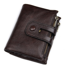 Genuine Leather Men Wallets Credit Business Card Holders Double Zipper Cowhide Leather Wallet Purse Carteira 8442C rfid crazy horse genuine leather men wallets credit business card holders double zipper cowhide leather wallet purse carteira