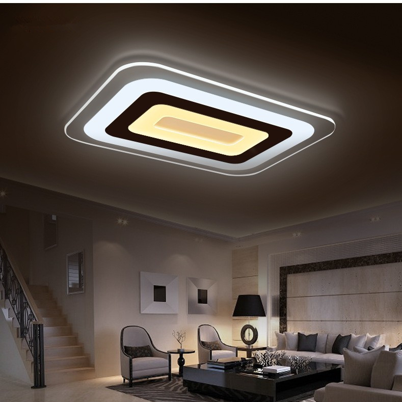 modern ultra thin minimalist acrylic ceiling led rectangular living room ceiling lamp bedroom. Black Bedroom Furniture Sets. Home Design Ideas