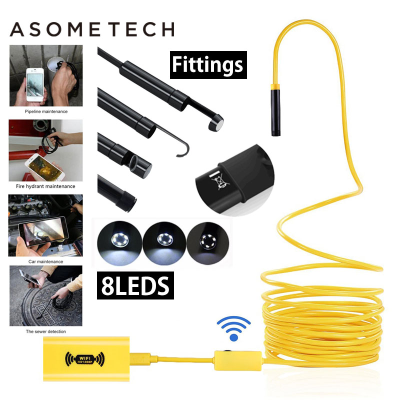 Asometech USB Endoscope Camera HD 1200P IP68 Semi Rigid Tube Endoscope Wireless Wifi Borescope Video Inspection for Android/iOS full hd 1080p optical zoom couplers endoscope coupler adapter medical endoscope camera adapter for rigid endoscope