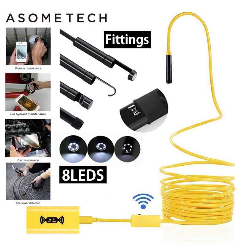 Asometech USB Endoscope Camera HD 1200P IP68 Semi Rigid Tube Endoscope Wireless Wifi Borescope Video Inspection for Android/iOS