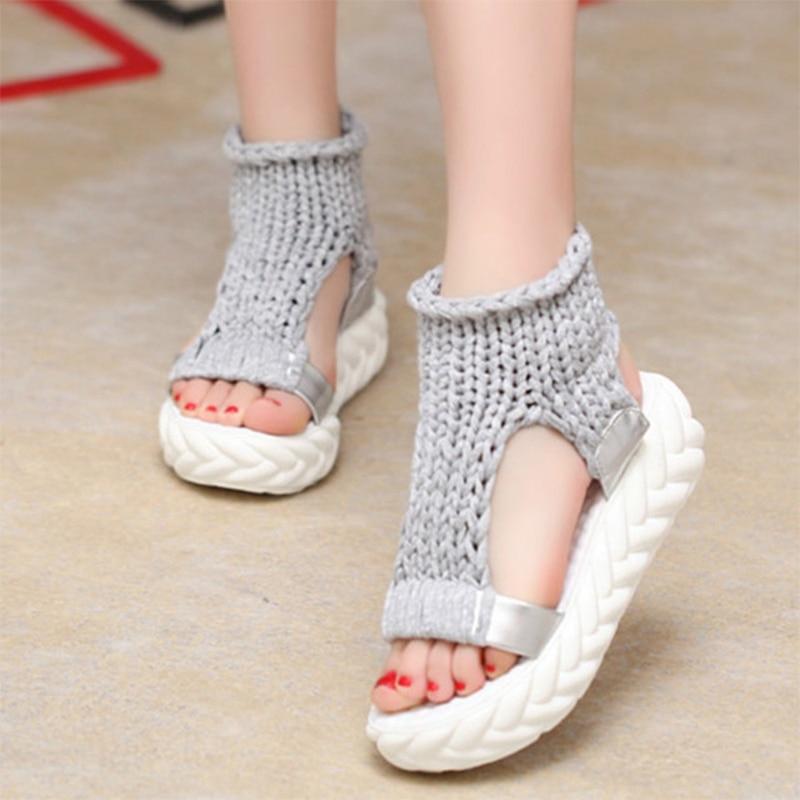 الصوف والحياكة الصنادل المرأة منصة - أحذية المرأة
