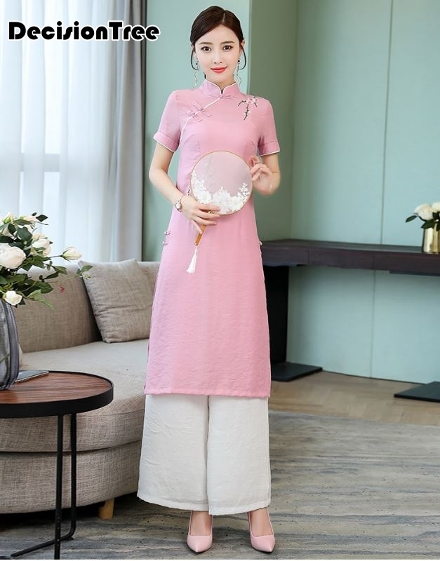 2019 Woman Solid White Aodai Vietnam Traditional Clothing Ao Dai Vietnam Dress Vietnam Costumes Improved Cheongsam Dress