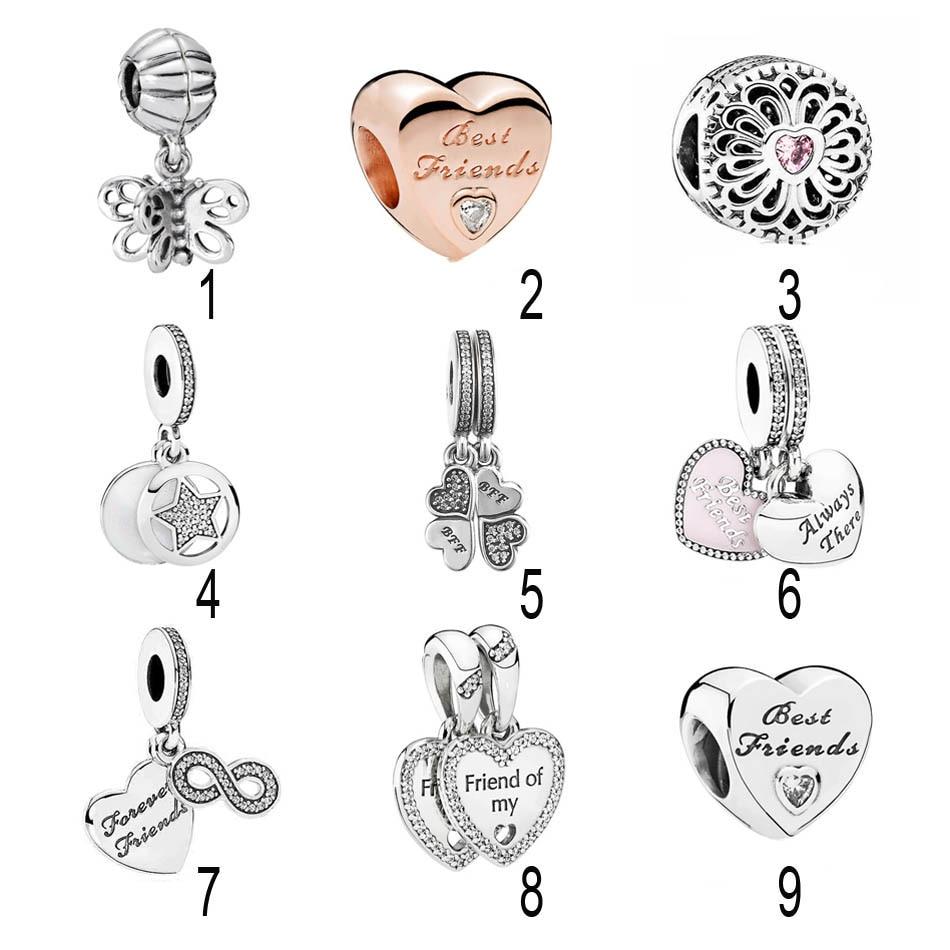 925 Silver Friends Pendant Charm Fit Pandora Bracelet Hearts of Friendship Best Friends Forever BBF Openwork Filigree Love DIY