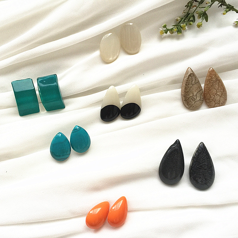 Japan Korea jewelry beautiful resin cute water droplets geometric cute stud earrings