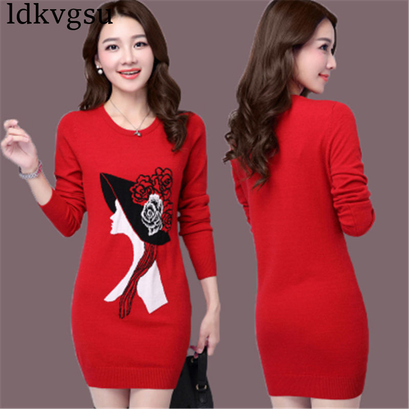 2018 nouvelle grande taille 4XL automne hiver longue Section pull femmes pull Slim tricoté pull coréen impression robe V111 - 5