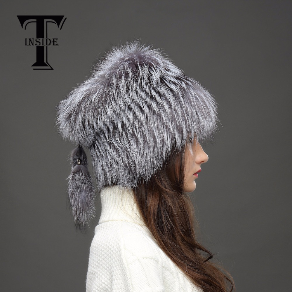 T INSIDE 2016 Women Genuine Knitted Silver Fox Fur Hat 2016 High End Female Cap New