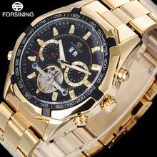 FORSINING марка мужчины механическая турбийон часы кожаный ремешок мода повседневная мужская автоматическая скелет золотые часы relógio