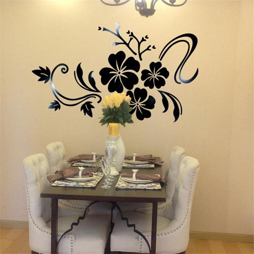 Art flower 3D Mirror Vinyl Removable Wall Sticker Decal Home Decor ...