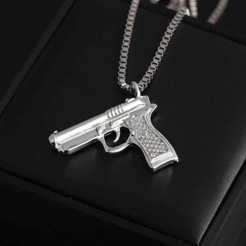 ホット販売ヒップホップネックゴールドローズメッキピストル銃ペンダント & ネックレス男性女性パーティーアクセサリー ожерелье