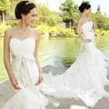 Fish tail wedding dress 2017 summer slim hip bandage tube top short trailing the bride wedding dress