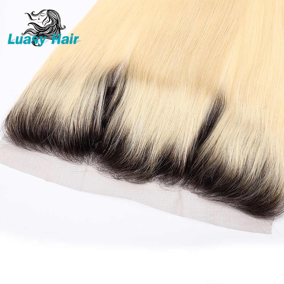 Luasy Дартс корни перуанские прямые человеческие волосы 1B 613 блонд кружева фронтальное закрытие уха к уху прозрачное кружево Remy с волосами младенца