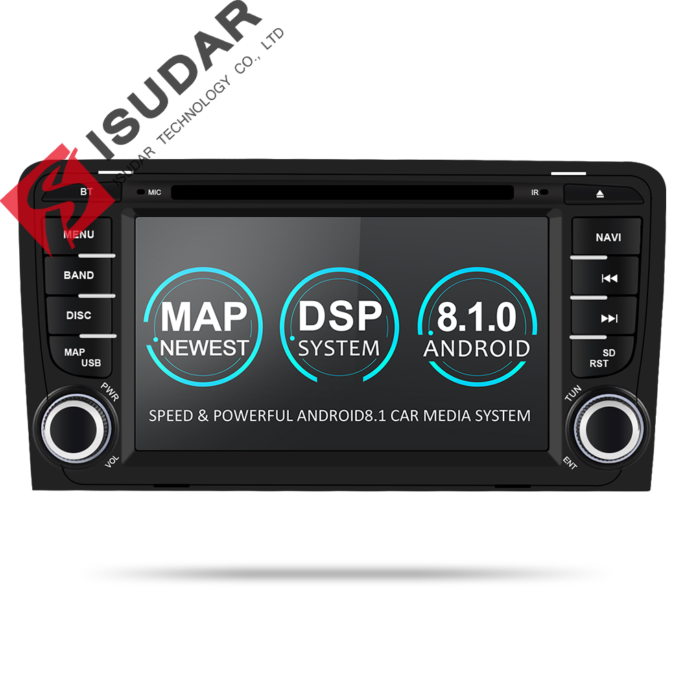Isudar 2 Din Auto Lettore Multimediale GPS Android 8.1.0 DVD Automotivo Per Audi A3 8 P/A3 8P1 3 -porte Hatchback/S3 8 P/RS3 Sportback