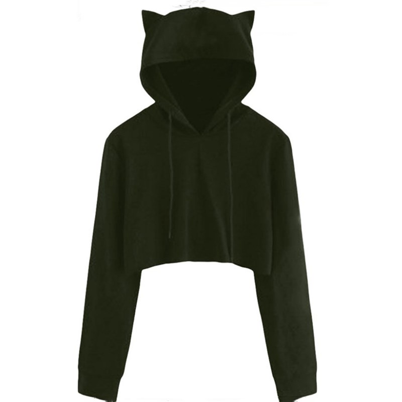 Teen Girls Cute Cat Ear Breathable Trim Sweatshirt Crop Top Long Sleeve Pullover Hoodies Loose Pullover Moletom
