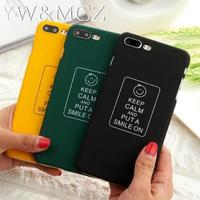 lot 100 pcs lot Wholesale Buzzwords Keep Clam and put a smile on Matte Cell Phone Case For iPhone 5 5s SE 6 6s 7 plus Case Cover