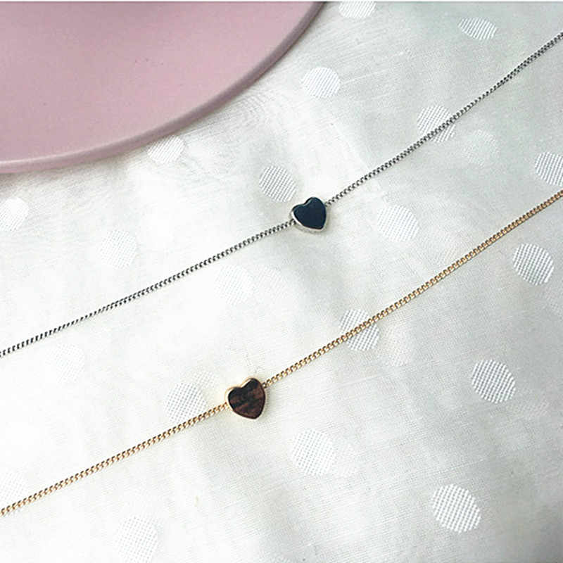 N219 מינימליסטי עצם הבריח שרשראות נשים Bijoux זעיר לב אהבת שרשראות מעדן תכשיטים חוף קיץ 2018 Collares