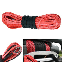 New Arrivals 1 4 X 50 15m 6mm 7000lbs Red Winch Rope Synthetic Cable Line With