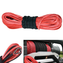 """New Arrivals 1/4"""" x 50′ 15m*6mm 7000lbs Red Winch Rope Synthetic Cable Line With Hook for ATV UTV Off-Road"""