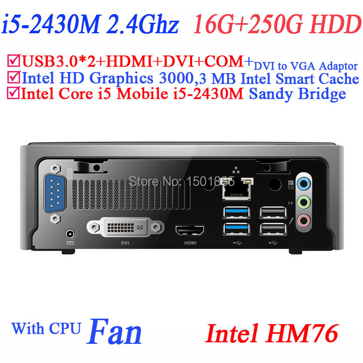 OEM cheap linux mini computer linux business computer with Intel Core i5 2430M 2.4Ghz 16G RAM 250G HDD