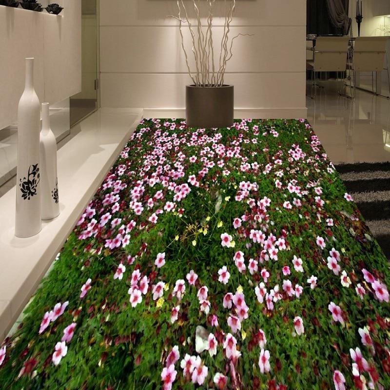 где купить Free shipping custom Flowers grass floor thickened waterproof living room bathroom children room floor wallpaper mural по лучшей цене
