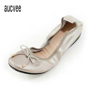 1c407a697f9c aucvee Gold Silver Ballerina Flats Lady Slip On Style
